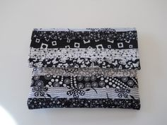 Quilted E-Reader Pouch in Black and White Masquerade Fabric by MamaMahoneyCreations