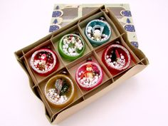 Vintage Diorama Christmas Ornaments, Mercury Glass Holiday Decorations, Boxed Set of 6
