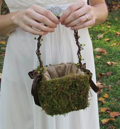 Small Moss Flower Girl Basket for your Nature Wedding by justanns, $35.00