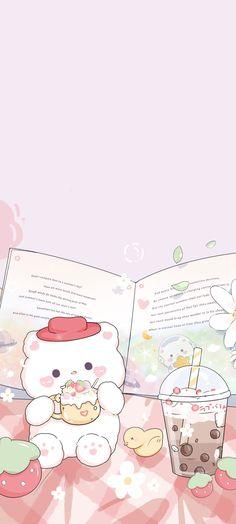 Iphone Wallpaper Kawaii, Cute Wallpaper For Phone, Iphone Background Wallpaper, Scenery Wallpaper, Cute Anime Wallpaper, Cute Cartoon Wallpapers, Cute Little Drawings, Cute Drawings, Peach Wallpaper