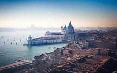 Download wallpapers Venice, Italy, San Giorgio Maggiore, Santa Maria della Salute, morning, city panorama, old town, romantic places