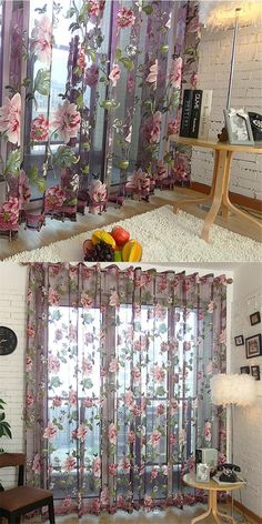 Peony Print Window Screening Tulle Blinds Voile Gauze Curtains Translucidus for Kitchen Bedroom Decorations Living Room Dividers