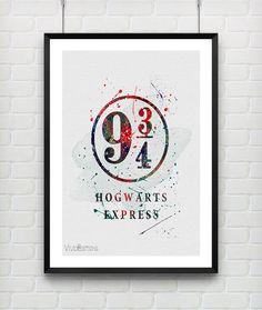 Harry Potter Poster Platform 9 3/4 Hogwarts Express Watercolor Art Print by VIVIDEDITIONS #etsy