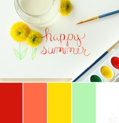 a summer-watercolor-inspired color palette // poppy red, papaya orange, lemon yellow, mint green