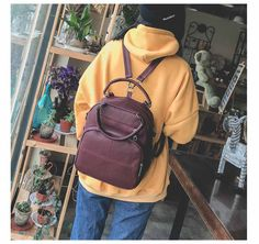 4c618c9b10d4 Aliexpress.com : Buy Luxy moon Women Leather Backpack Brown School Bag For  Girls Female