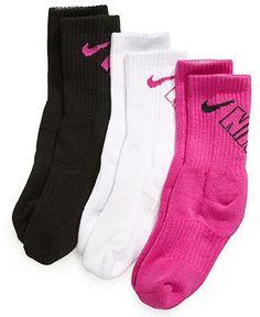 Nike Kids Socks, Little Girls 3-Pack Crew Socks - Kids - Macy's
