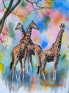 Buy 4 Thiongo Giraffe oil painting reproduction from Toperfect's artists in reasonable prices; our painters are famous for 4 Thiongo Giraffe paintings for sale, landscape art, portrait from photos, wall decor pictures, and more paintings on canvas. Giraffe Drawing, Giraffe Painting, Giraffe Art, Watercolor Animals, Watercolor Art, Animal Drawings, Art Drawings, Giraffe Pictures, Afrique Art