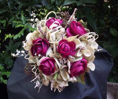 Bridal bouquet with wine ranaculus and sage green hydrangea, dried lavender, raffia, burlap, wedding bouquet, alternative bouquet Etsy $ 63.50 Would change the ranaculus and burlap