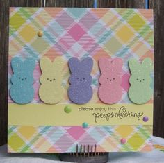 SSS My Kind of Peep; Patterned paper by Echo Park. Enamel dots by Teresa Collins and Doodlebug. Run the Peeps diecuts through a Xyron face down and then added Distress Rock Candy Glitter to get the sugary look. Teresa Collins, Cute Cards, Diy Cards, Diy Easter Cards, Easter Card Sayings, Handmade Easter Cards, Easter Peeps, Happy Easter, Easter Bunny