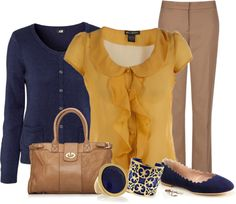 """""""mustard and navy"""" by meganpearl on Polyvore"""