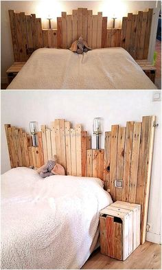 If you are a beginner in wood crafting and looking to design a wonderful but an easy project for changing the dull appearance of your wooden bed, then craft this wooden bed headboard with lights on top. Its rustic beauty is simply letting the entire envir Wood Pallet Beds, Wood Pallet Furniture, Wood Beds, Wood Pallets, Wood Pallet Recycling, Pallet Crafts, Diy Pallet Projects, Wood Crafts, Pallet Ideas