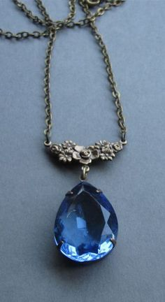 Blue jewel necklace, vintage faceted blue glass pendant