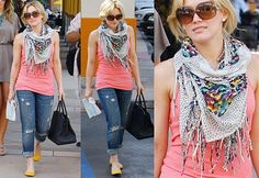 Hillary Duff is always looking good with scarves