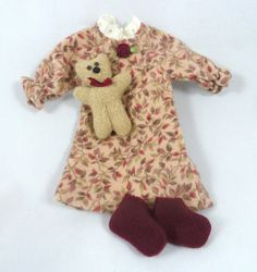 Doll clothing: Nightgown slippers Teddy Bear for by JoellesDolls