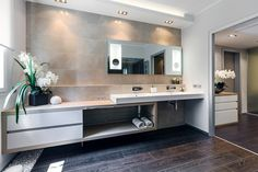 Fabulous Master Bathroom Interior Decor Idea of Modern Apartment with Floating Fit Vanity and Its Double Sink Concept