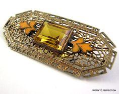 Art Deco Czech Brass Filigree Brooch with Topaz by worn2perfection, $75.00