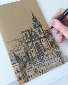 Carrying on with Prague today 📔 #art #drawing #pen #sketch #illustration #linedrawing #prague #czechrepublic #architecture #church #city…