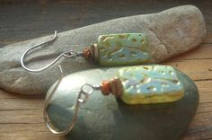 Sea Tides earrings rectangle shaped Czech glass beads by kmaylward