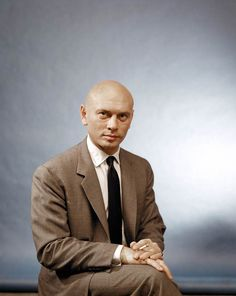 """Yul Brynner. This portrait has a wonderfully bizarre """"Yearbook portrait of the school principal"""" vibe to it."""