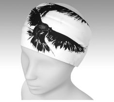 Crow Headband • Printed and sewn by hand in Montreal, Canada • Vivid print that will never fade after washing, our ultra-stretch fabric holds shape even after multiple wearings