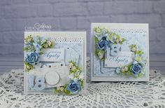 Today I have for you a birthday set in blue. Wild Orchid, Explosion Box, Scrapbooks, I Card, Orchids, Foundation, Decorative Boxes, Paper Crafts, Birthday