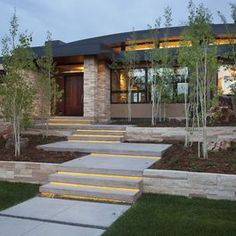 Outdoor Stairs Design Ideas, - nice landscaping for front yard, but lose the weedy trees.
