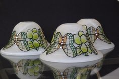 Vintage glass light shades with butterfly by Prettyvintagehouse