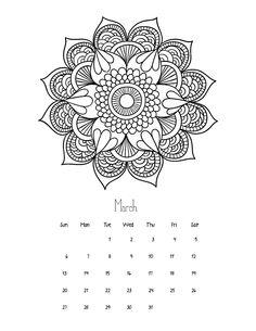 Adult coloring page  2016 March mandala calendar
