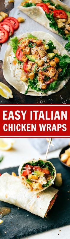 The easiest 10-minute Italian Chicken and Veggie Warps. SO tasty, so quick, and healthy!