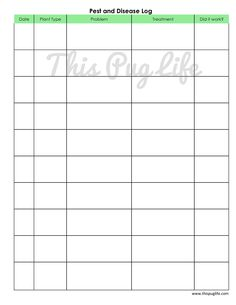 Garden Journal Printables - pest and disease log