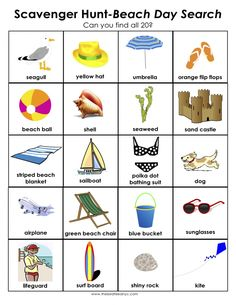 Beach Scavenger Hunt: 101 Things for Summer Series - thinking of using this for my Alz. Beach Kids, Beach Fun, Summer Kids, Beach Trip, Beach Party, Beach Crafts For Kids, Beach Vacations, Kids Fun, Kid Crafts