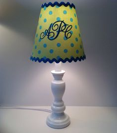 Woodland fox custom lamp shade shades lamps and lamp shades monogrammed lamp shade lime green with turquoise polka dots on etsy 5000 mozeypictures Image collections