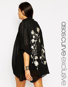 ASOS CURVE Exclusive Premium Kimono with Embroidered Back
