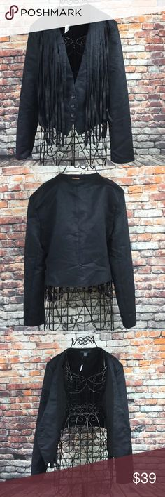 Kendall & Kylie Womens Faux Suede Fringe Jacket Kendall & Kylie Womens Faux Suede Fringe Jacket Black Medium M NWT (X) Kendall & Kylie Jackets & Coats