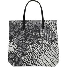 REPTILE big shopper | Grey/Black Beautiful printed shopper, size 46x46cm in 100% Cotton Canvas with genuine leather handles. #accessories #shopper #aw16 #fashion #danishdesign #print #snake #monochrome