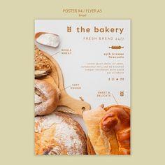 Plantilla de póster de pan siempre fresc... | Free Psd #Freepik #freepsd #flyer #cartel #comida #negocios Macarons, Drip Art, Business Poster, Event Flyer Templates, Fresco, Fresh Bread, Freshly Baked, Bread Baking, Bakery