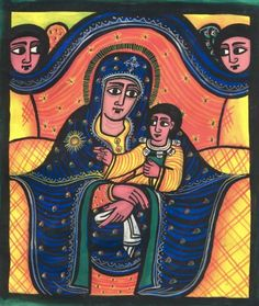 An Ethiopian icon of Mary, based on the image of the Salus Populi Romani venerated in the basilica of Santa Maria Maggiore in Rome. The image became the standard depiction of Mary in Ethiopia when the Jesuits brought copies of the Roman image to the African country. Soon it came to replace all traditional Ethiopian depictions of Mary, some of which had existed for many centuries. The Jesuits were expelled from the country in 1633. The icon they brought however continues to reproduced by the…