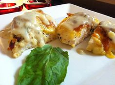 DJ Dave Diner 7/13 Stuffed Chicken Breast w/Kalamata Cream Sauce - Life is a challenge, but when it's a food challenge, I love to accept.  :-) Tonight did a Colby cheese stuffed chicken, with sun-dried tomatoes, basil, bacon, as well as a homemade Kalamata olive, white asparagus and cream sauce. Think biscuits and gravy; that's the texture I was looking for. Down home comfort food!