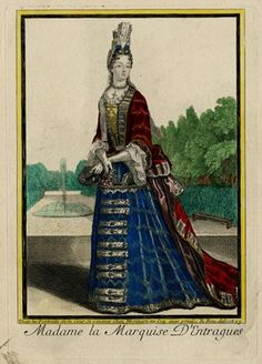 Portrait of the Marquise d'Entragues by H. Bonnart after R. Bonnart - 1695 Hand-coloured etching and engraving