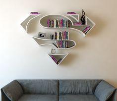 Superman, logo, shelf, interrior, design, bookshelf on Behance