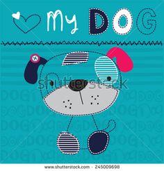 cute dog boy vector illustration