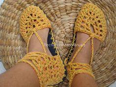 ... Recriando Artes Manuais ...: sapato de crochê - modelo boneca cano alto