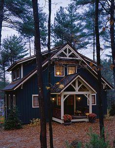 PineRidge Timberframe - Newbury blue navy ivory trim cabin in woods