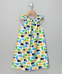 Take a look at this Blue & Yellow Whale Angel-Sleeve Dress - Infant, Toddler & Girls by Haley and the Hound on #zulily today!