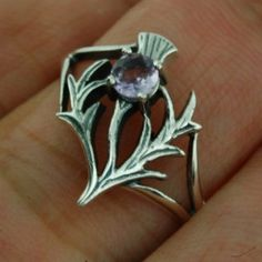 Thistle Ring size 7 US set w Genuine Amethyst 925 by FineArt925, $22.95