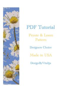 Loom Work Tutorial , easy to follow ! Beautiful Daisy Pattern! Once you download PDF tutorials you will get 2 pdfs for peyote and loom work. Pattern contains 13 colors of 11/0 delica seed beads. Bracelet is 1,5 width and 7 length approx. For the finish just add sliding tube claps