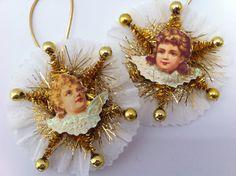 CHRISTMAS angels vintage style CHENILLE by StanleyAndStewart, $9.00