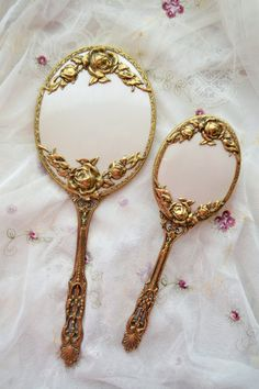 Beautiful vanity mirror and brush set