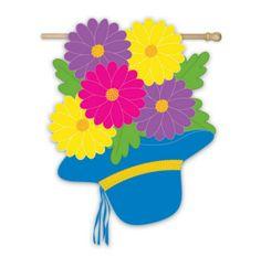 Evergreen Enterprises - Bonnet and Flower Bouquet Applique House Flag