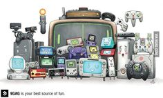 Video game consoles family portrait